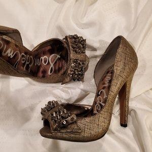 Sam Edelman Lorna Studded Bow,Peep Toe High Heels